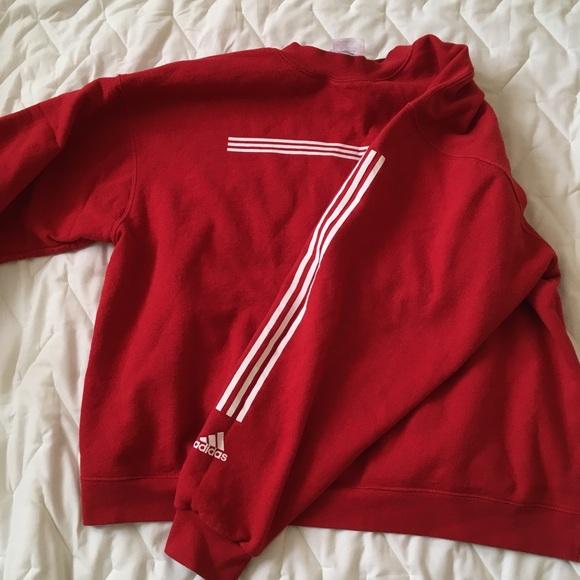 Addidas Sweatshirt With Stripes Red White 8wOn0Nvm